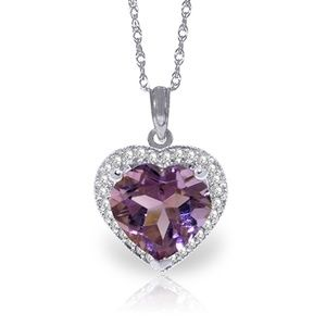 NECKLACE WITH NATURAL DIAMONDS & HEART AMETHYST